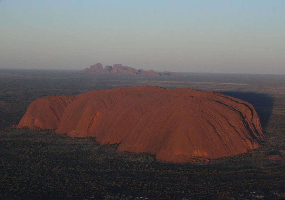 Dawn aerial view of Uluru and Kata Tjuta