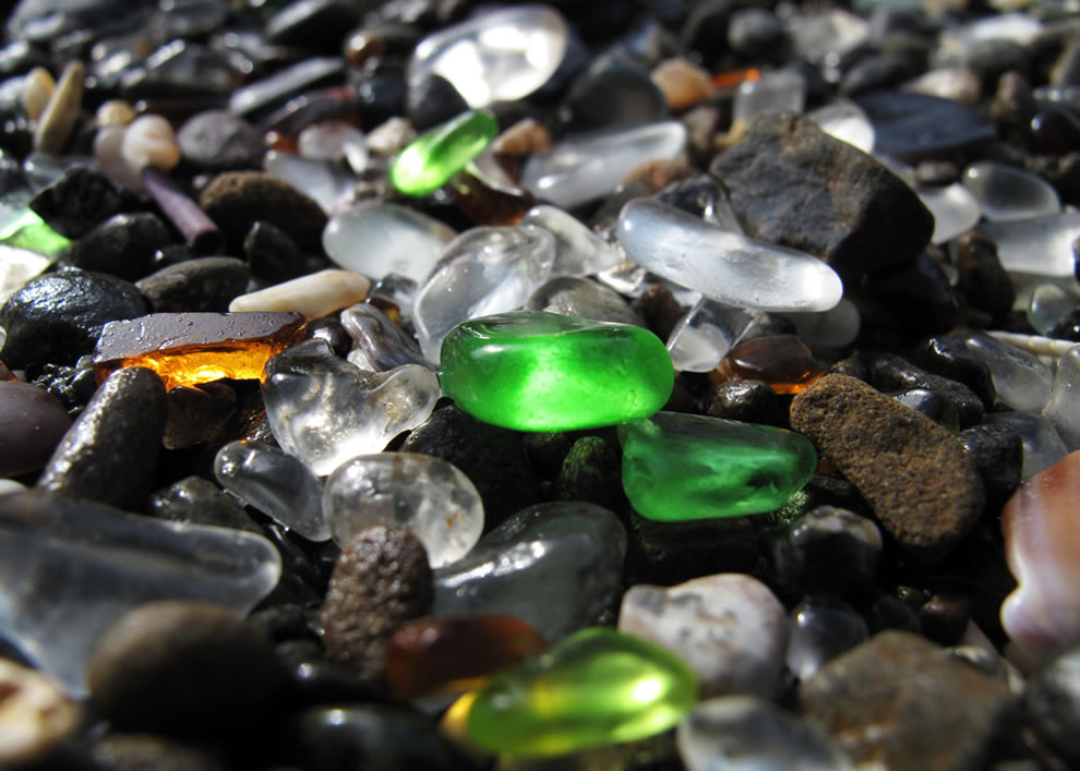 Glass and rocks on Glass Beach in Fort Bragg, CA