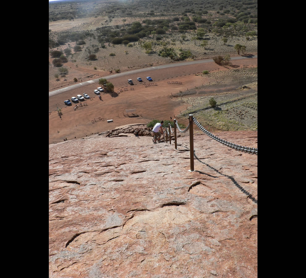 Going down Uluru