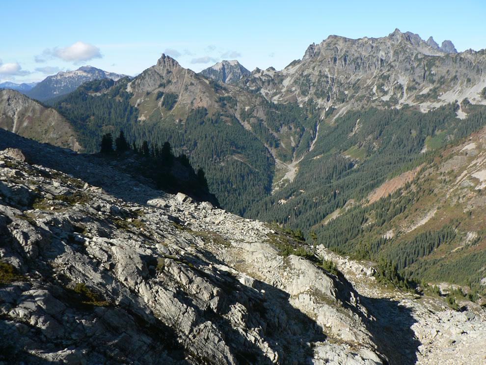 Huckleberry Mountain 6340 feet; also, Big Snow Mountain (6680 feet), Point 6480 feet, Chikamin Peak (6960 feet) and Lemah Mountains (7540 feet)