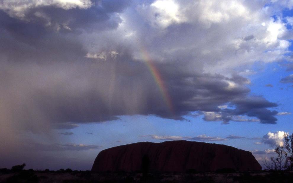 Uluru with rainbow