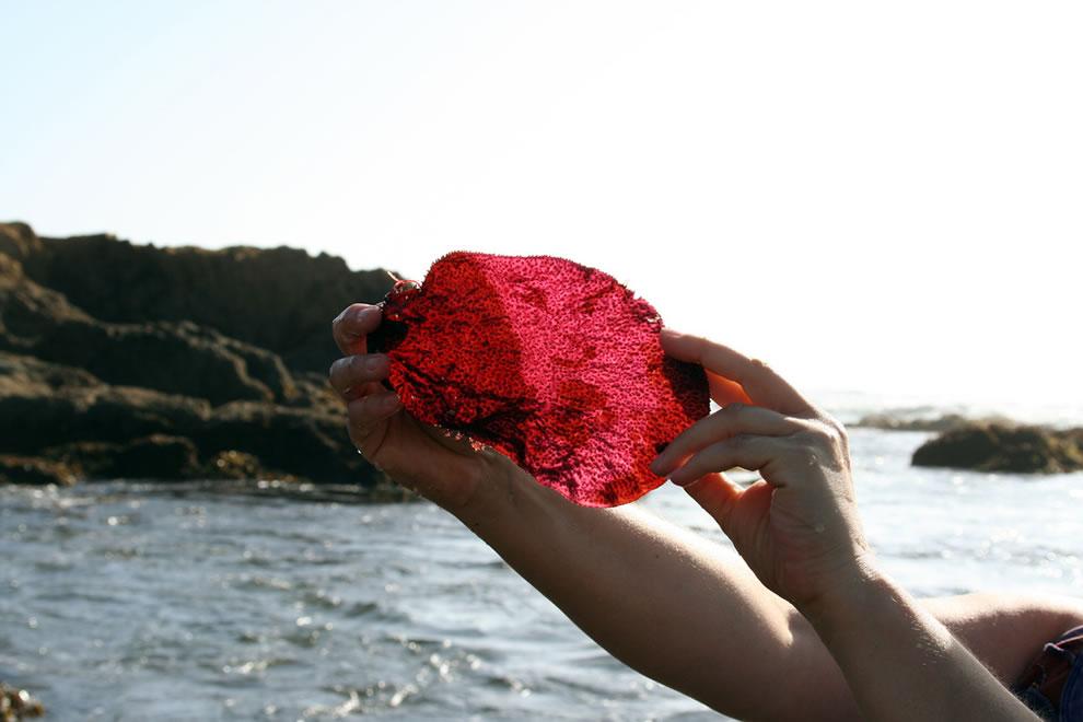 big red glass on Glass Beach