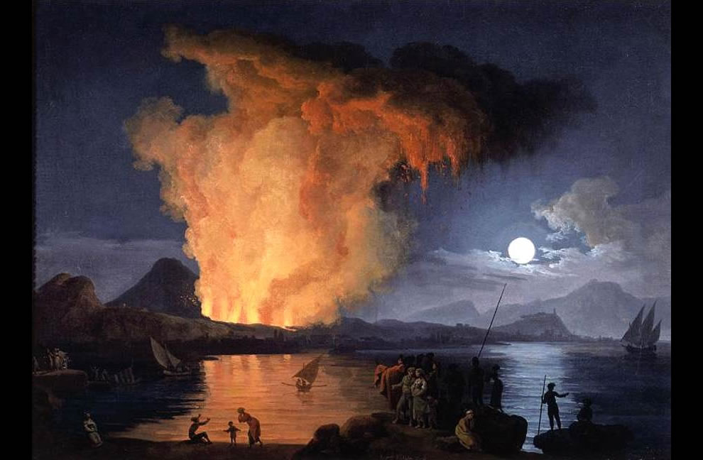1770s View of the Eruption of Mount Vesuvius (Oil on canvas)