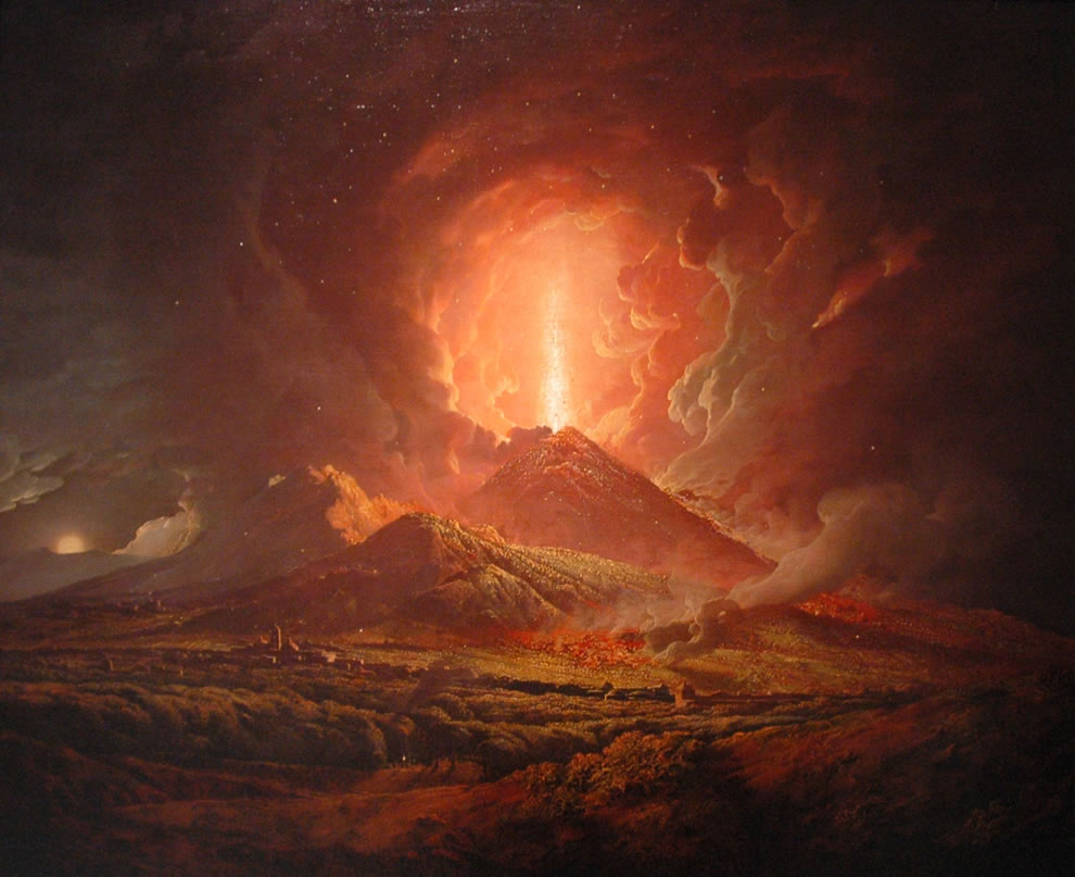 18th century painting - Vesuvius from Portici
