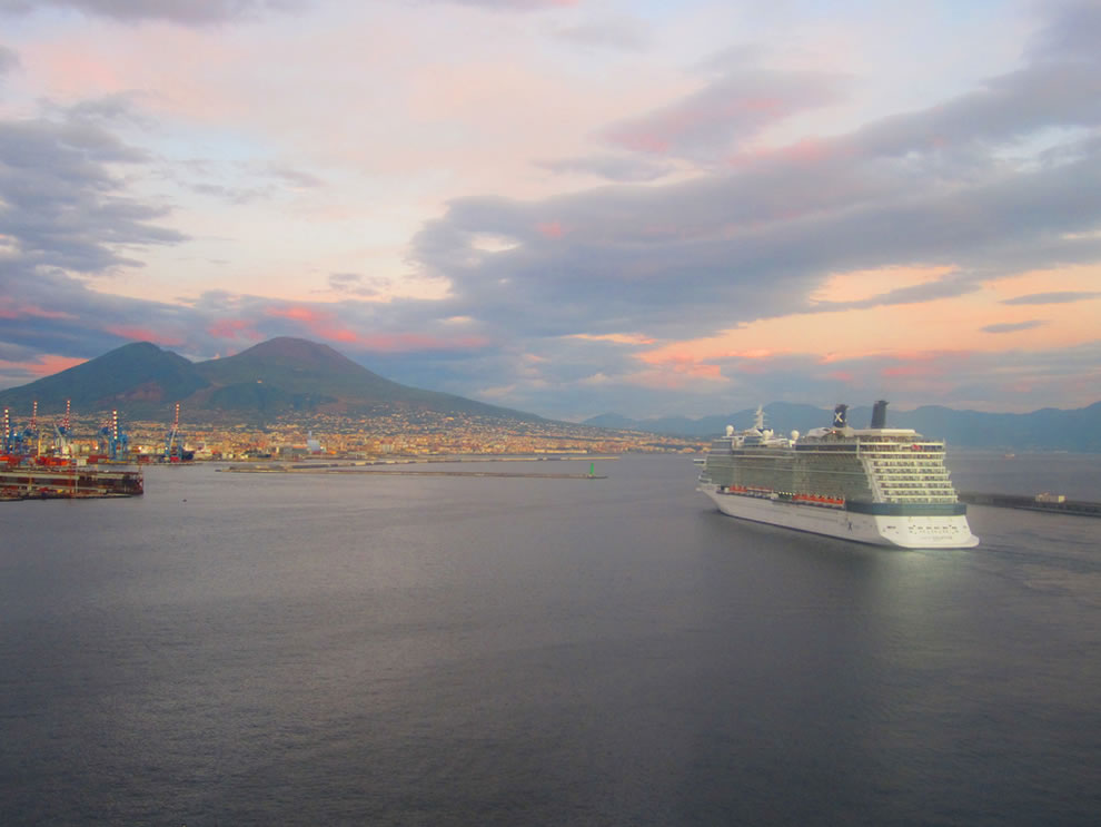 Celebrity Solstice with Mount Vesuvius in the background