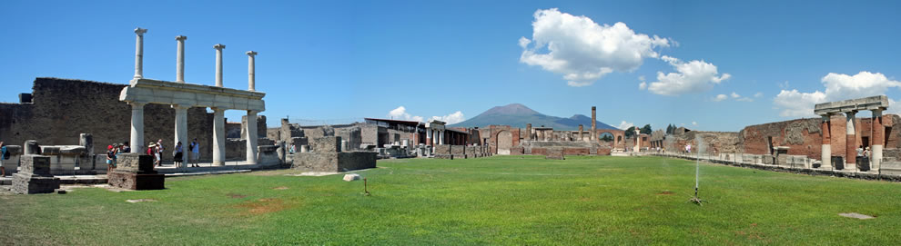 Panoramic view of the Forum of Pompeii with Vesuvius
