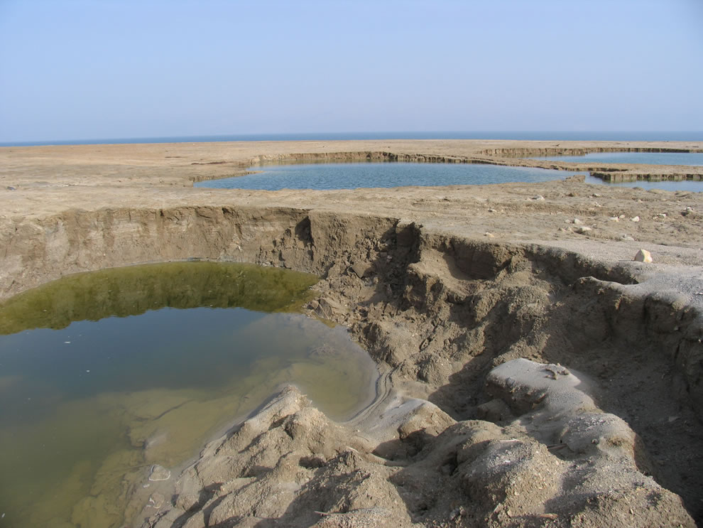 Sinkholes at Mineral Beach, Dead Sea, West Bank