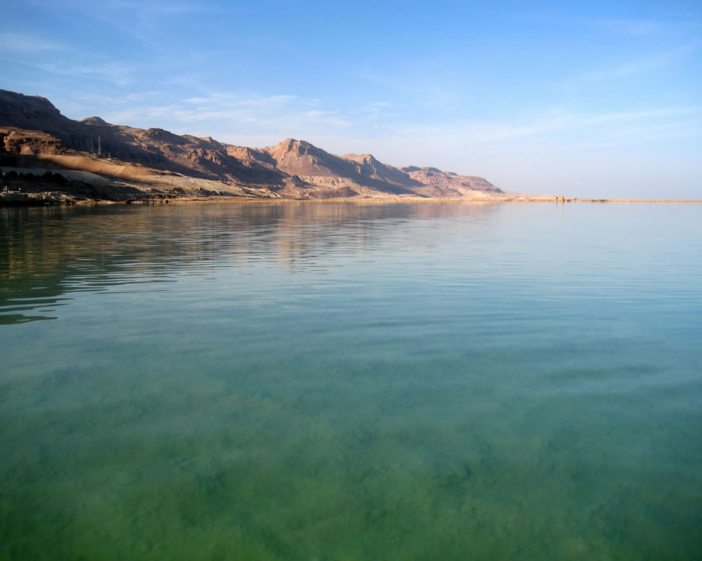 The dead sea in ein bokek from the beach of the Meridien Hotel