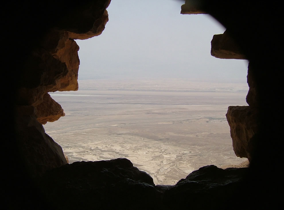 View of the Dead Sea and surrounding area from a view point in Masada