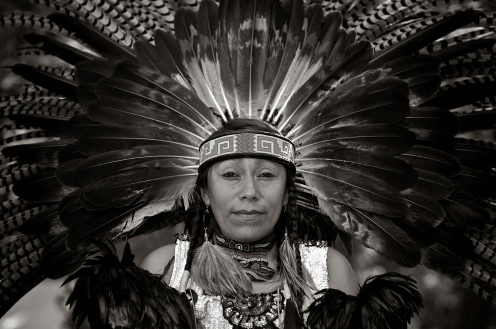 Amazing Headdress B&W Shinecock Nation Pow-Wow