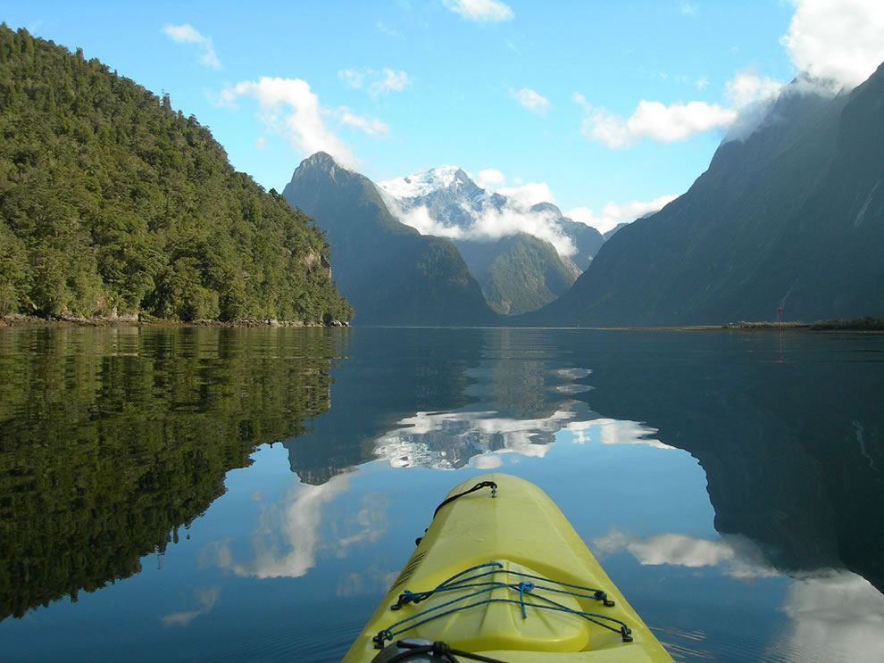 Early morning calm in Milford Sound, Fiordland National Park, New Zealand
