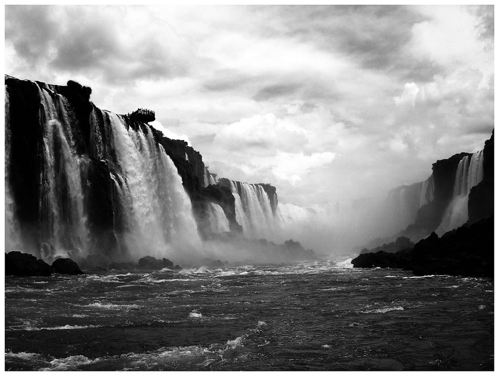 Iguazu Falls, Brazil in black and white
