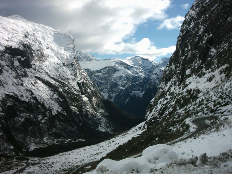 Looking west from the portal of the Homer Tunnel (underneath Homer Saddle) into one of the valleys (Cleddau Valley) leading into Milford Sound