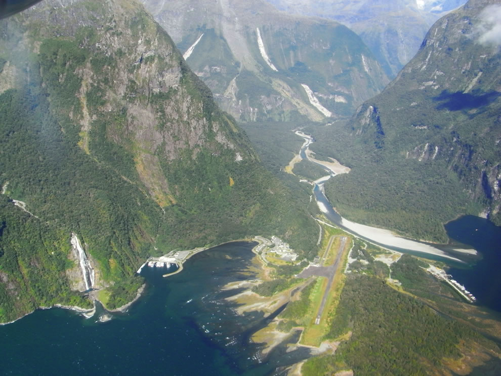 Milford Sound Airport, New Zealand as seen from an aircraft
