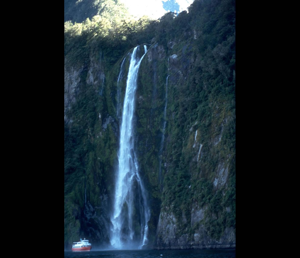 Stirling Falls on Milford Sound, Fiordland, New Zealand. Note the ship for size reference