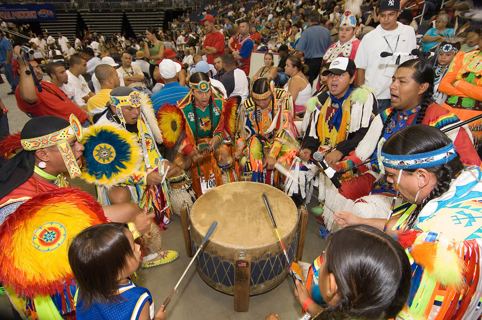 The drum groups are the heart of all powwows and provide the pulsating and thunderous beats that accompany a dancer's every movement