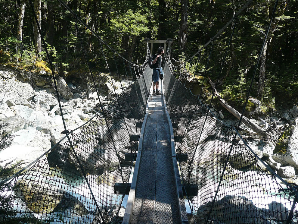 There are many neat suspension bridges on the Milford and Routeburn Tracks. Most have a maximum load and shake pretty badly when you cross them