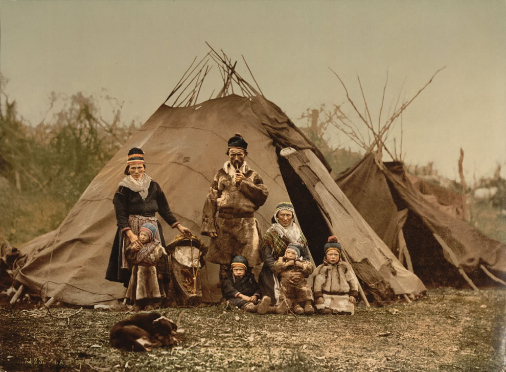 Arctic dwellers, a Sami (Lapp) family in Norway around 1900