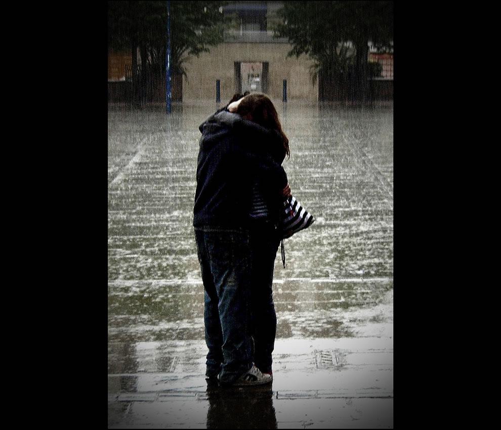Couple in the rain