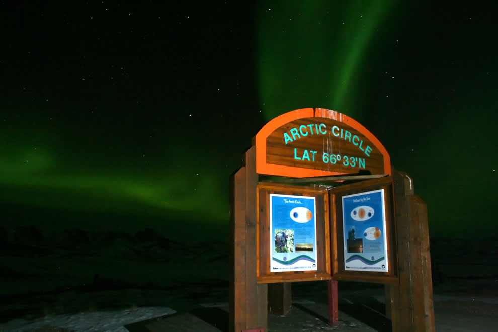 View of the Aurora Borealis (northern lights) at the Arctic Circle in Yukon, Northwest Territories