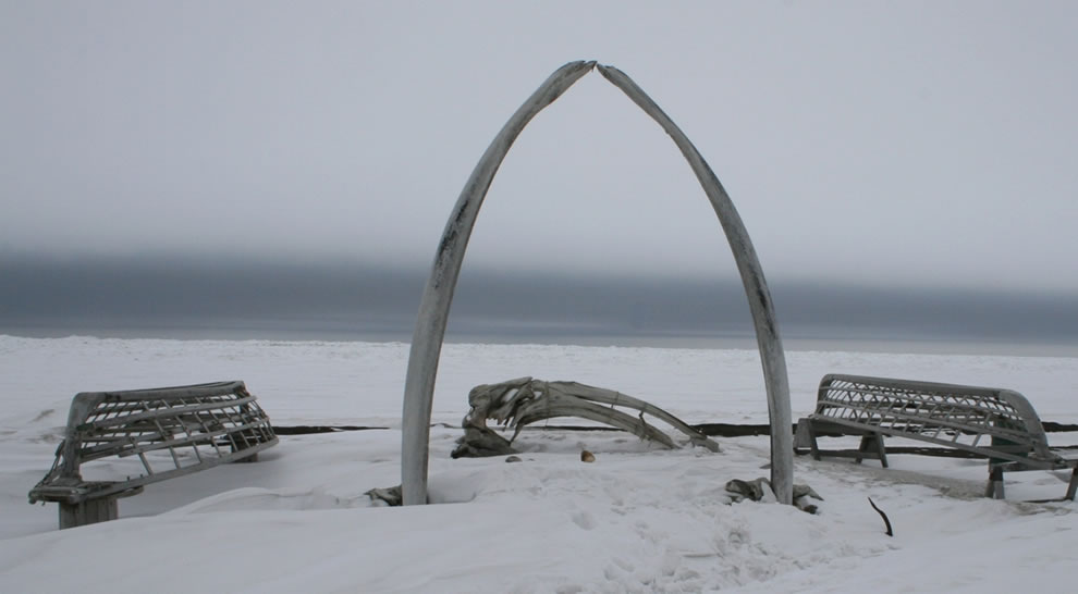 Whale Bone Rib Arc and Skin Boat Frames at Barrow, Alaska located on the coastal waters of the Arctic Ocean