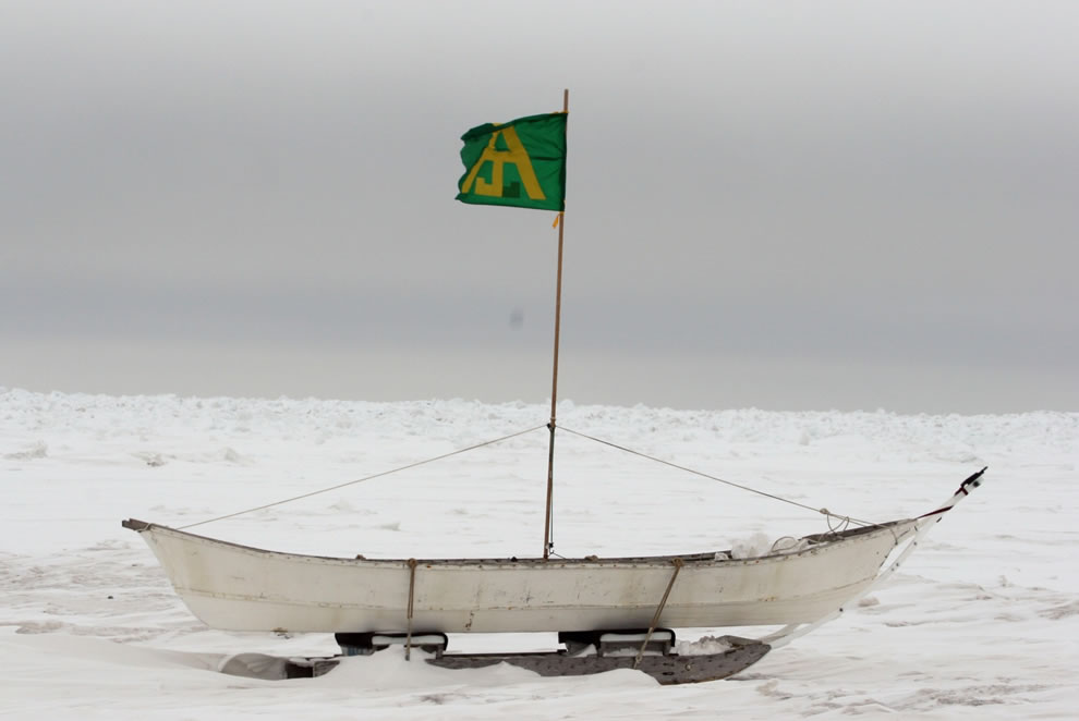 Whaling boat  on the coastal waters of the Arctic Ocean