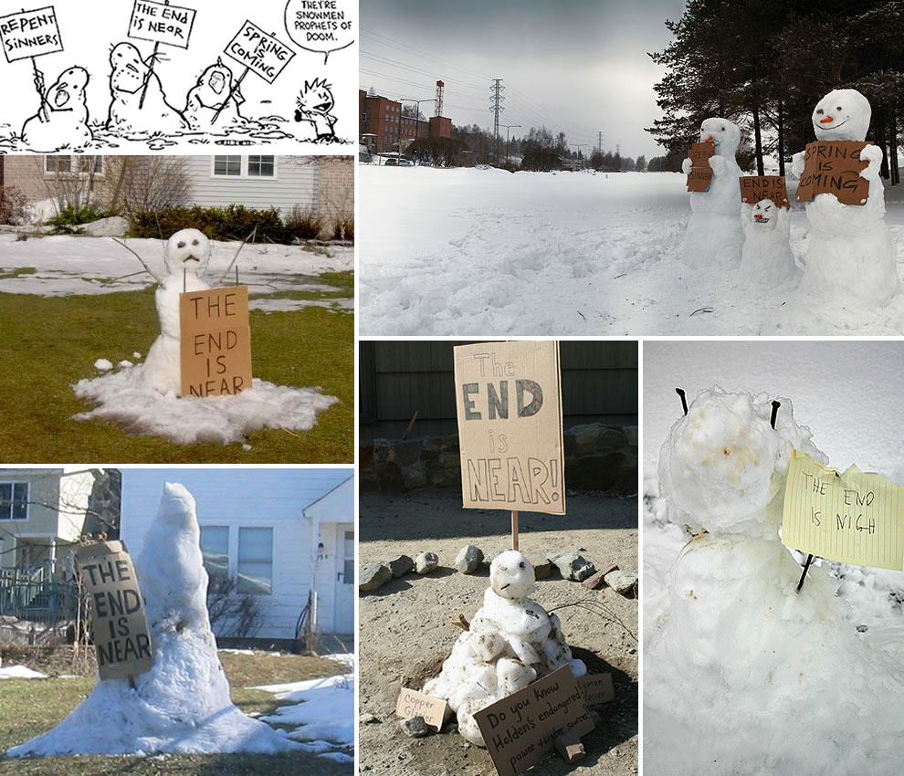 Calvin & Hobbes Prophets of Doom Snowmen for 2012 End of the world Mayan prediction believers - The end is near