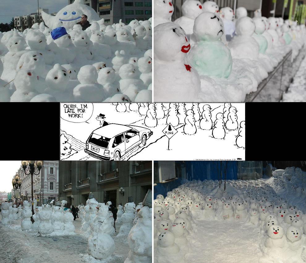 Calvin & Hobbes type scene in real life -- snowmen crossing