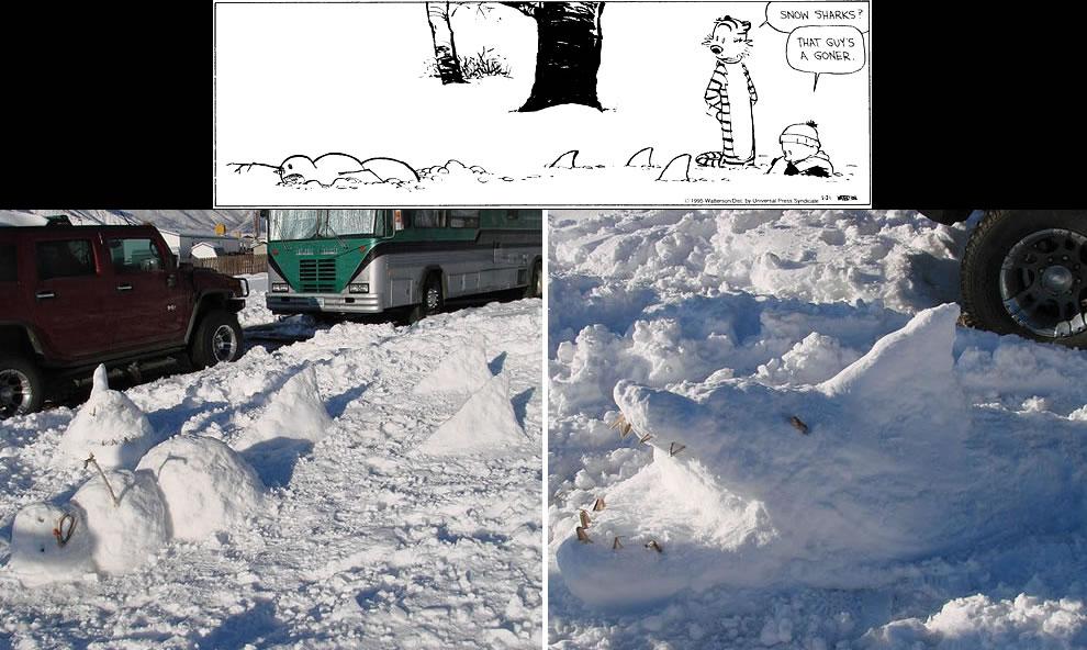 Calvin and Hobbes-esque Deadly RV Park Snow Sharks