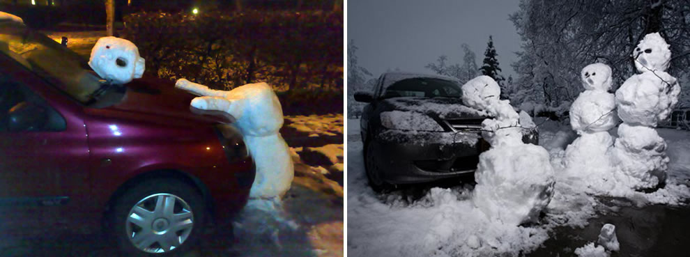 More snowmen killed by cars -- Calvin and Hobbes fans or needing psychologist