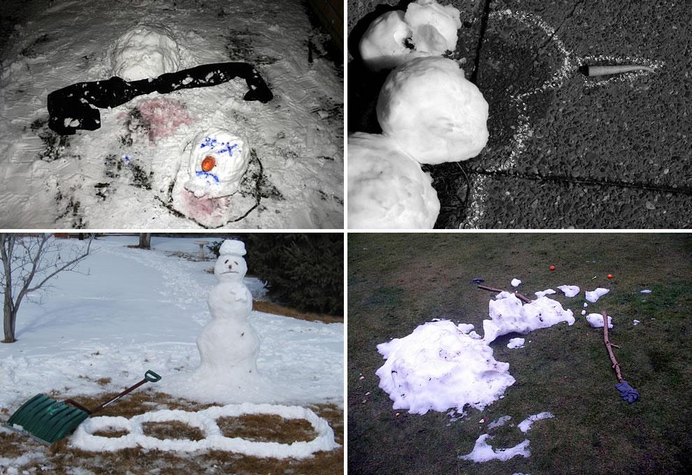 Snowman victims Calvin and Hobbes meet CSI - dead, murdered snowmen
