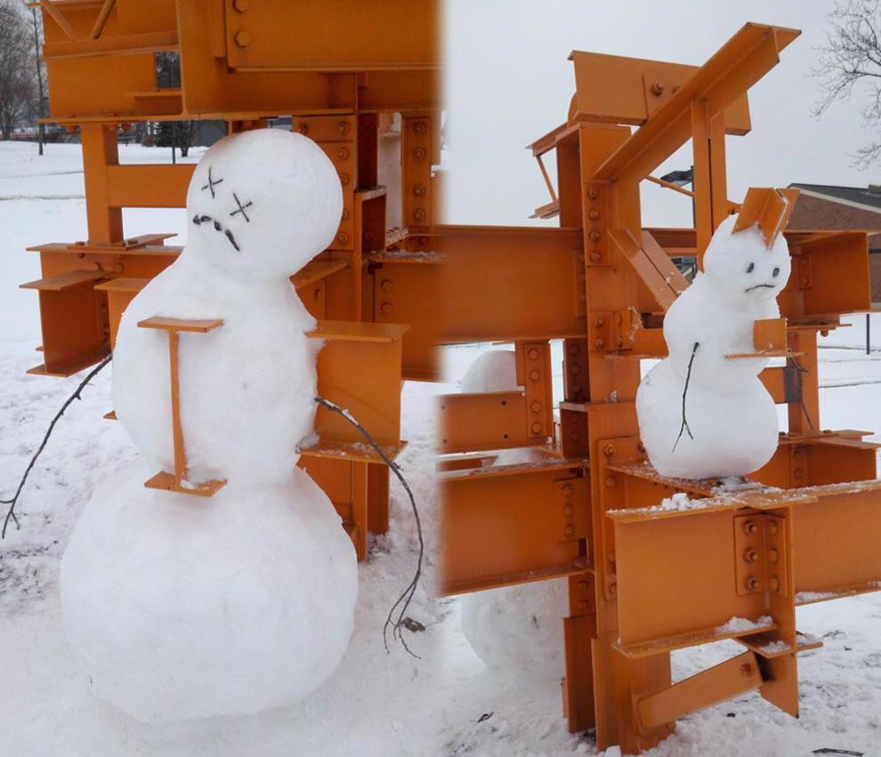 impaled -- Calvin and Hobbes-esque snowmen