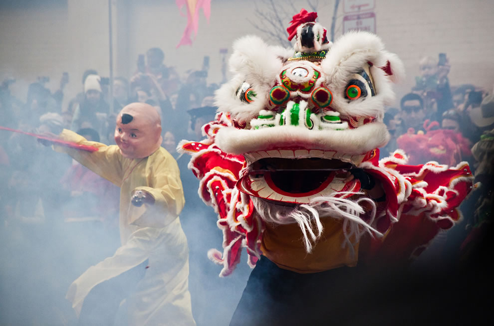 smoke from Firecracker dance -- chinese new year dragon in D.C