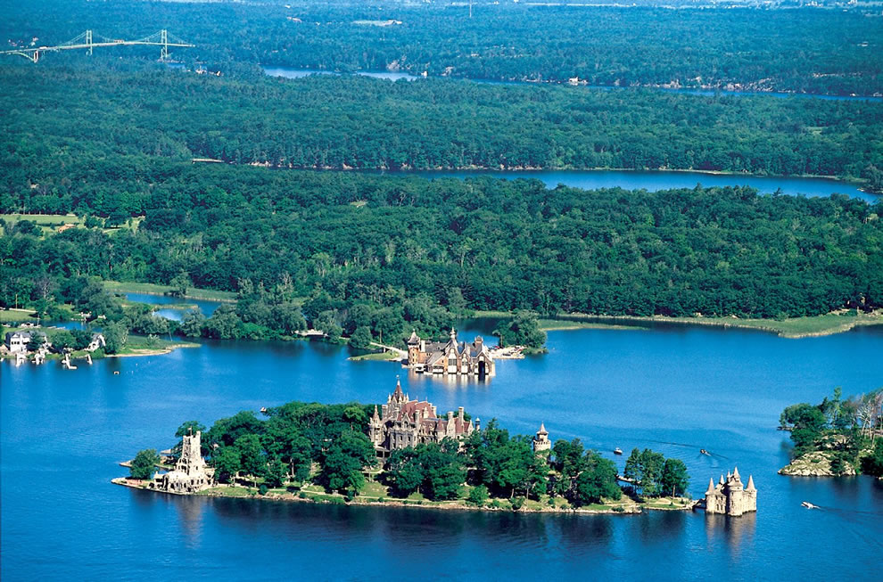 Aerial view of Boldt Castle and some of the Thousand Islands in the Saint Lawrence River - Castles Built for Love