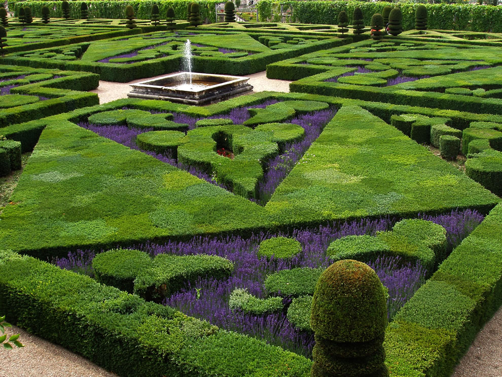 French formal garden of the 'Chateau de Villandry' in the Loire Valley