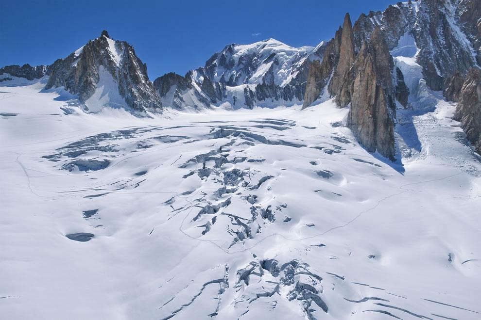 Glacier du Glacier du Géant, on the French side of Mont Blanc in the Alps