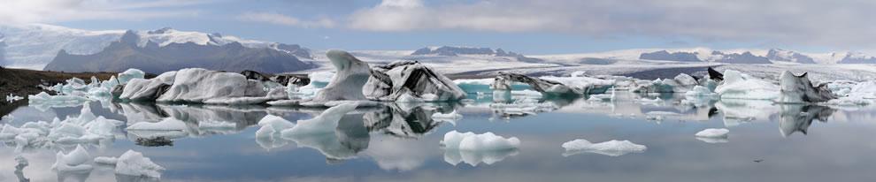 Panorama of the Jokulsarlon glacial lake in Iceland