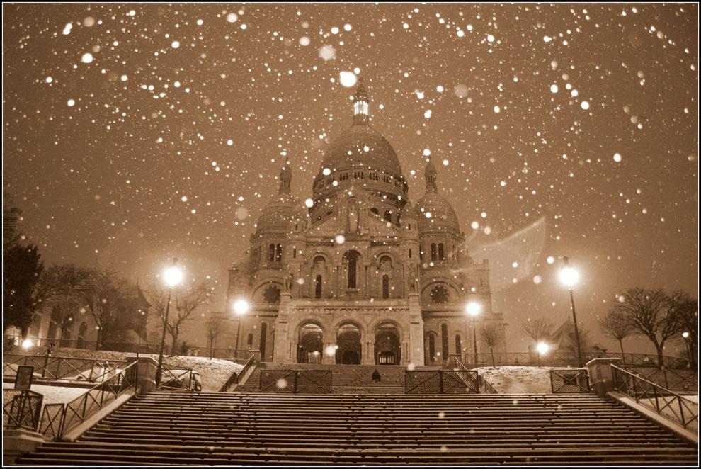 Paris by a snowy morning - Le Sacré coeur
