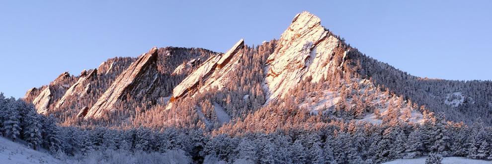 The Flatirons rock formations, near Boulder, Colorado