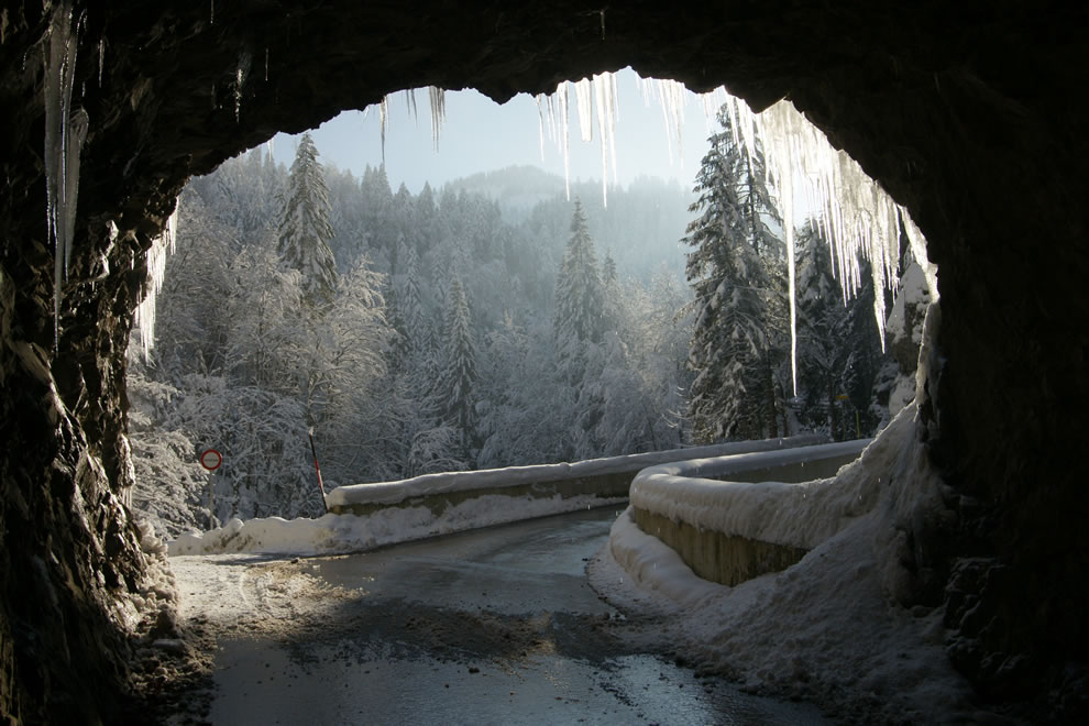 The road from Dornbirn to the mountain village of Ebnit in winter, Austria