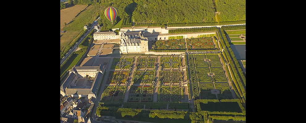 West view of the Château de Villandry and its French gardens