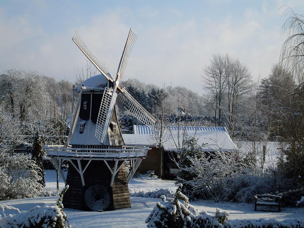 Winter scene of Windmill De Lelie (The Lily) in Aalten in the eastern Netherlands