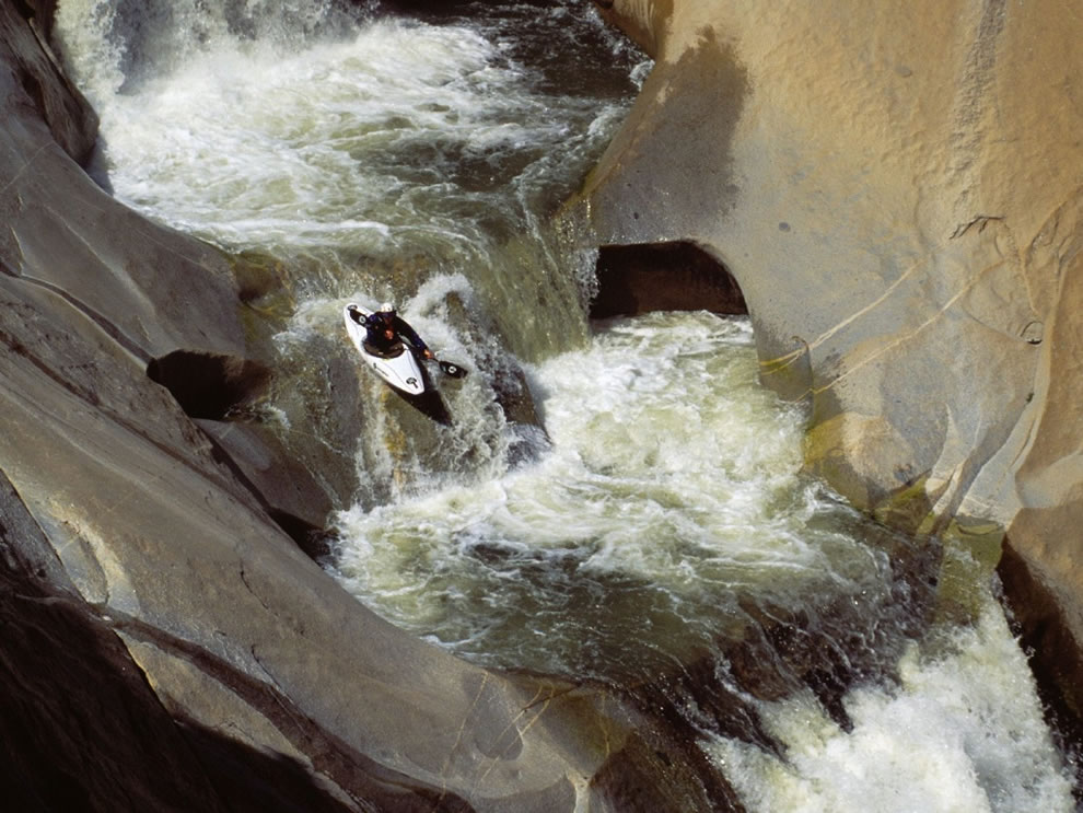 Extreme kayak sports, running the Teacups Dry Meadow Creek Southern Sierra Nevada Range California
