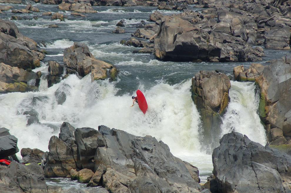 Flipped running Great Falls National Park in Virginia