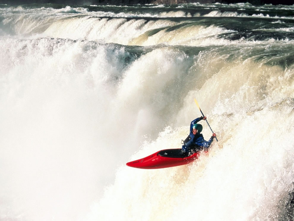 Kayak waterfall, rapid descent