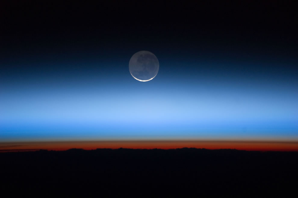 Moon Over Earth as seen from ISS