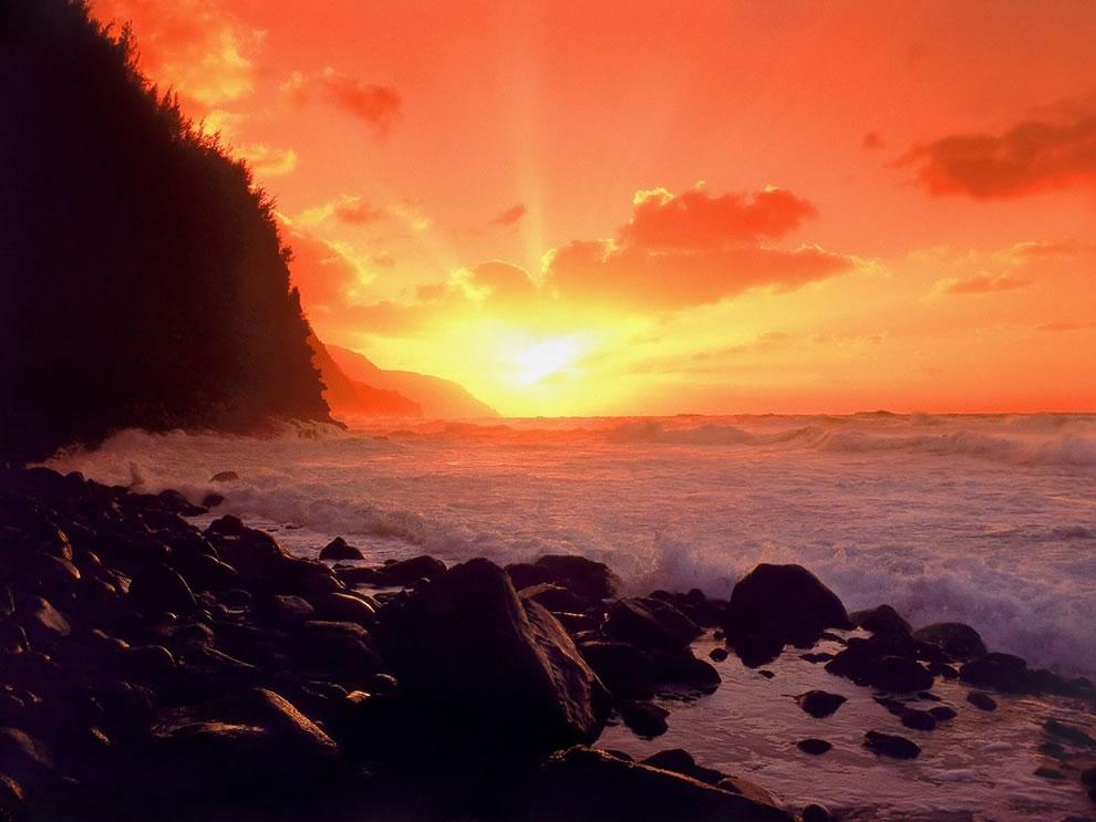 Napali Coast at Sunset, Kauai, Hawaii