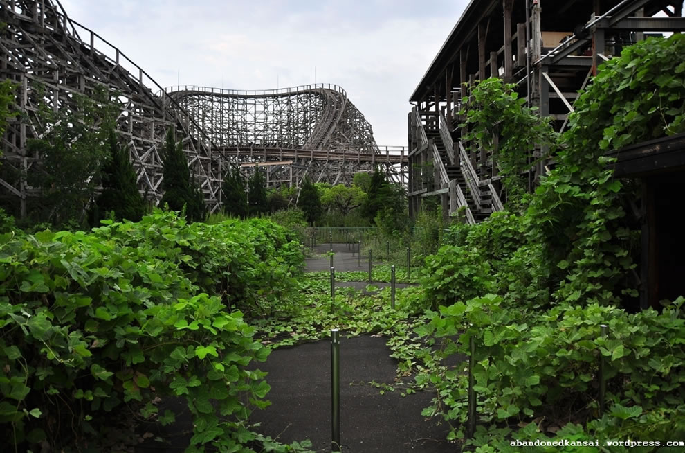 Nature reclaims abandoned Nara Dreamland's main attraction, the Aska rollercoaster