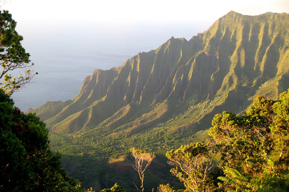 Overlooking the Kalalau Valley and the eroded, green cliffs of the Na Pali Coast in late-afternoon light