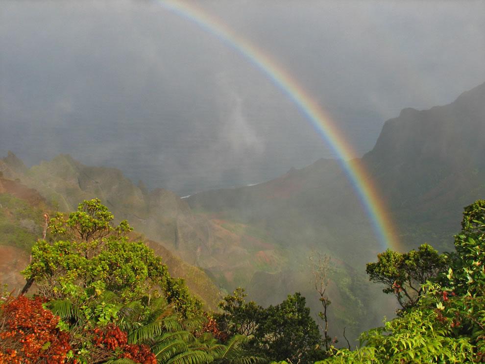Rainbow over Na Pali Coast taken from the top of the Waimea Canyon